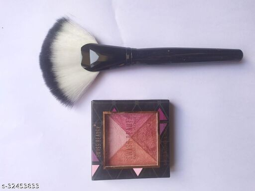 SWISS BEAUTY BAKED BLUSHER AND HIGHLIGHTER 2 IN 1 WITH FAN BRUSH COMBO
