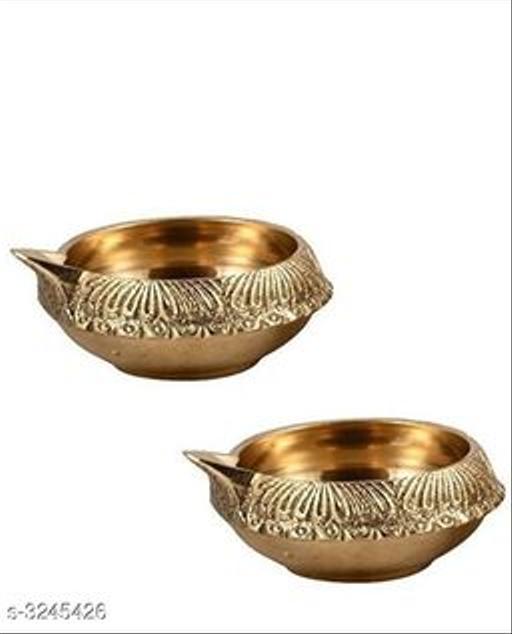 Fancy Brass Diyas (Pack Of 2)