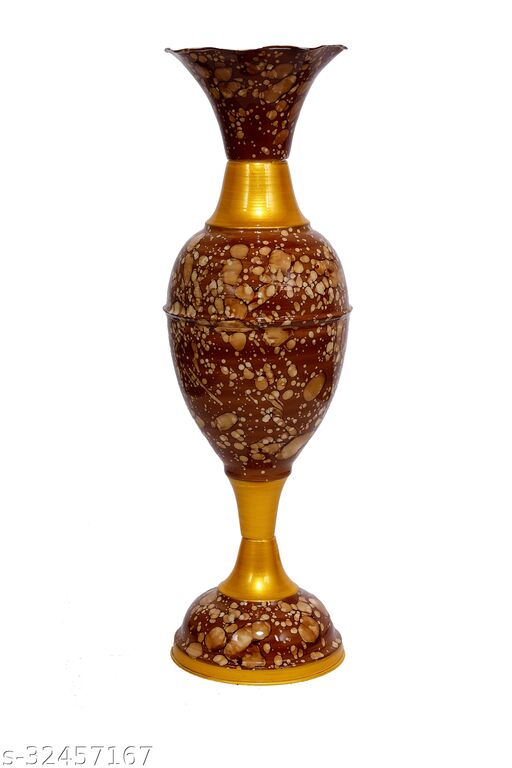 Rapidflue Handcrafted Marble Print Brown Iron Flower Vase