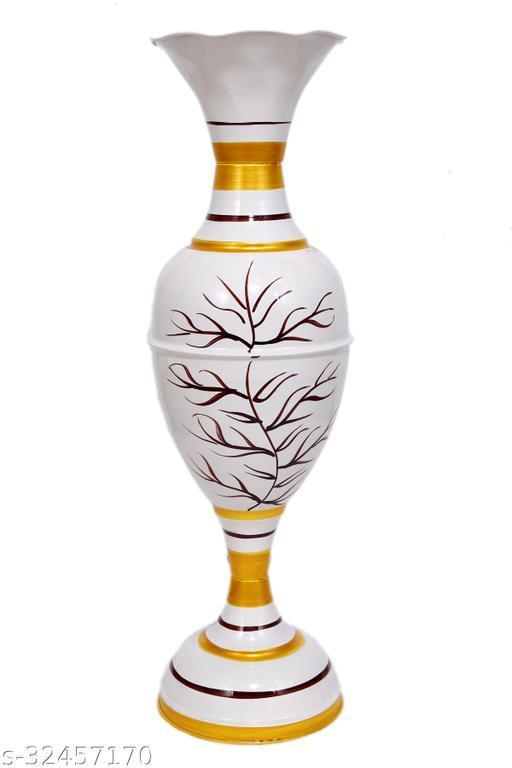 Rapidflue Handcrafted Shahi print White Iron Flower Vase