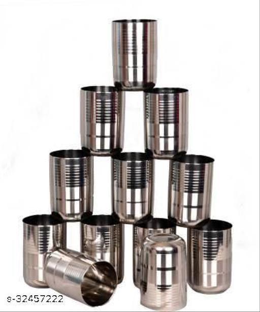LIMETRO STEEL (Pack of 12) Stainless Steel G5-12 Glass Set  (350 ml, Steel)