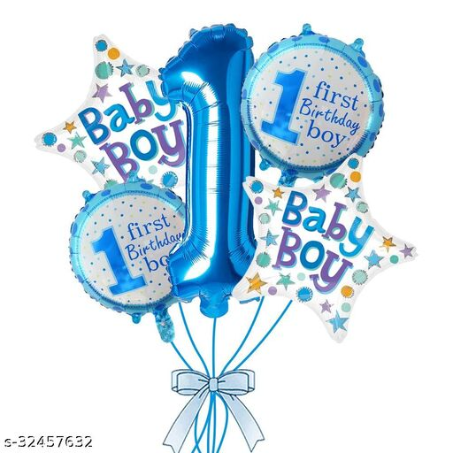 Aadya Craft & Decor Printed 1st Birthday boy Balloon Pack of 5 Pcs for Boys Birthday Decoration Letter Balloon  (Blue, Pack of 5)