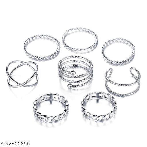 Z Jewels Exclusive Silver Plated Trendy Rings Collection Brass Vintage Ring for Women & Girls (Pack of 8)