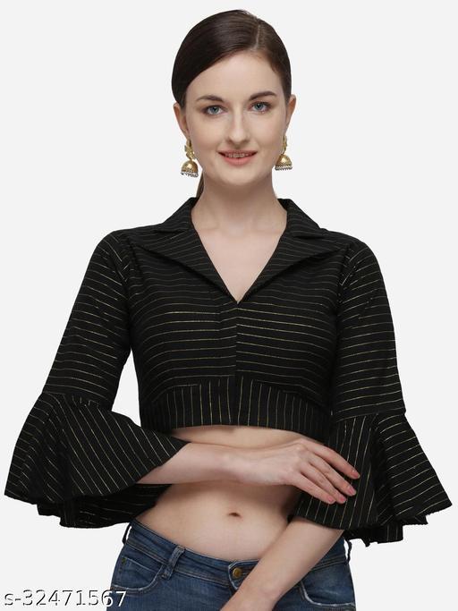 Adbhutam Women's Printed Black Phantom Silk Blouse With Collared Neck  (BL-20058-Black)_Free_Size