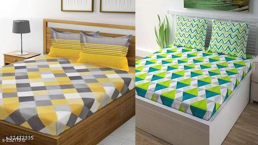 Trendy Jaipuri printed queen size double bed sheet with pillow covers (Combo)