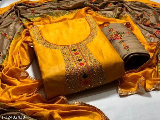 Trendy Satin Cotton Women's Suits & Dress Material