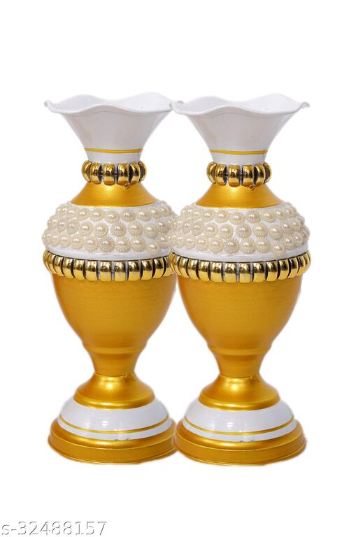 Rapidflue Handcrafted Half Moti Gold Iron Flower Vase (9 inch, Pack of 2)