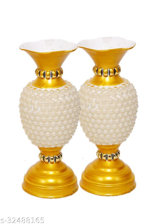 Rapidflue Handcrafted Full Moti Gold Iron Flower Vase (9 inch, Pack of 2)
