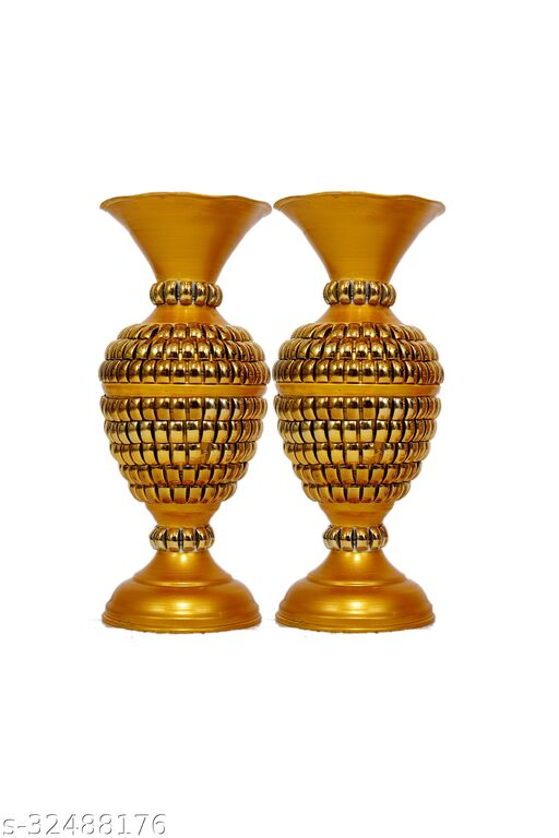 Rapidflue Handcrafted Full Beads Gold Iron Flower Vase (9 inch, Pack of 2)