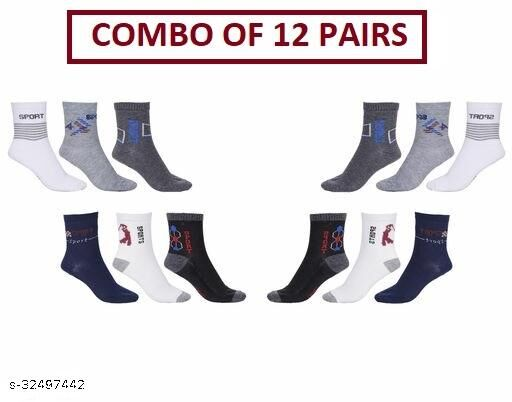 Unisex Ankle Sports Socks (Pack Of 12 Pairs)