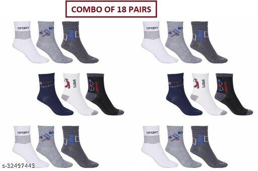 Unisex Ankle Sports Socks (Pack Of 18 Pairs)
