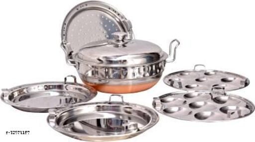 LIMETRO STEEL Stainless Steel Copper Bottom All-in-one Multi Kadai / idli Cooker Steamer with Stainless Steel Lid, 2 idli plates, 2 dhokla plates and 1 patra plate Cookware set (5 Plates , 14 Idlis )