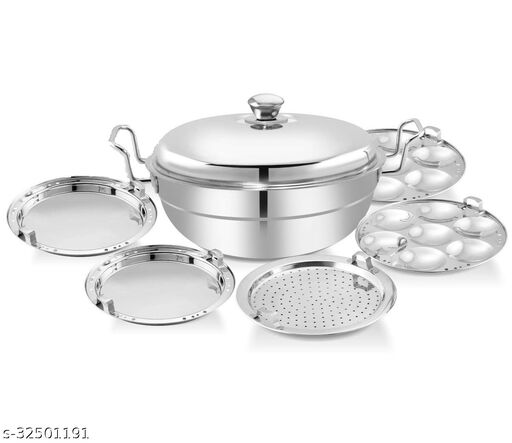 LIMETRO STEEL Stainless Steel Induction and Gas Stove Compatible Multi KaAdhai/Kadai Streamer with stainless steel lid, 2 idli plates, 2 dhokla plates and 1 patra plate Cookware set (5 Plates , 14 Idlis )