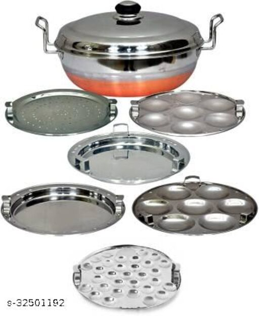 LIMETRO STEEL Stainless Steel Copper Bottom All-in-one Multi Kadai / idli Cooker Steamer with Stainless Steel Lid, 2 idli plates, 2 dhokla plates, 1 Mini Idli Plate and 1 patra plate Cookware set (6 Plates , 14 Idlis )