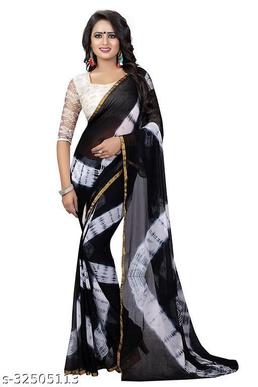 Aasu fashion Black printed Saree with Border Lace