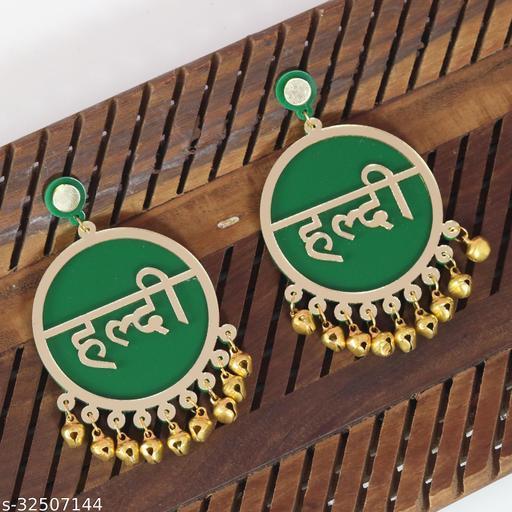 Haldi Green Earrings For Bridal