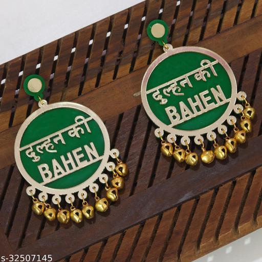 Dulhan Ki Bahen Green Earrings For Bridal