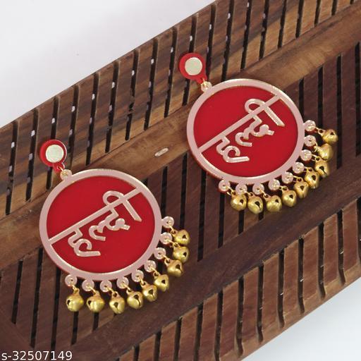 Haldi Red Earrings For Bridal
