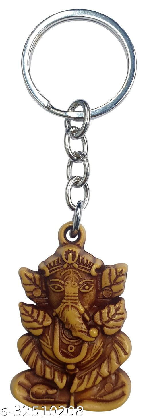 Blessings Petals Ganesh Keychain Wooden Effect