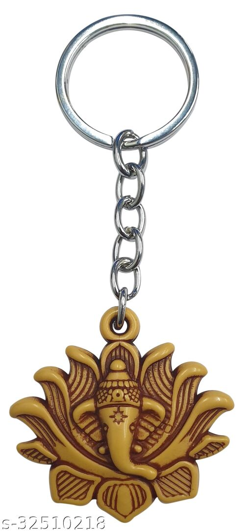 Blessings Lotus Ganesh Keychain Wooden Effect