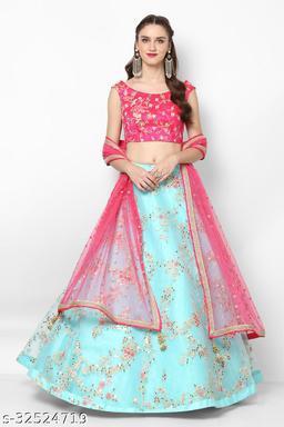 Sky Blue Net Semi-Stitched Lehenga Choli