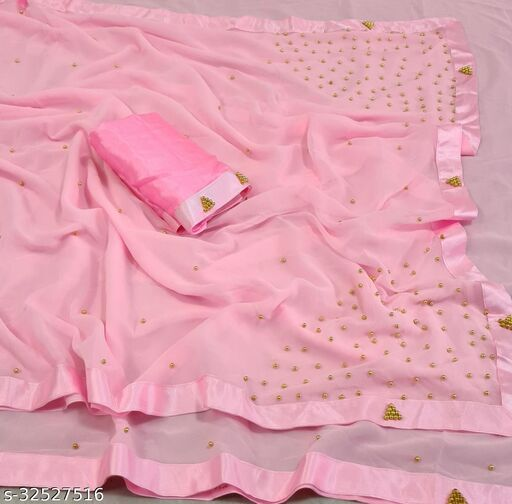 Georgette Pearl Work Saree (Baby Pink_Free Size)
