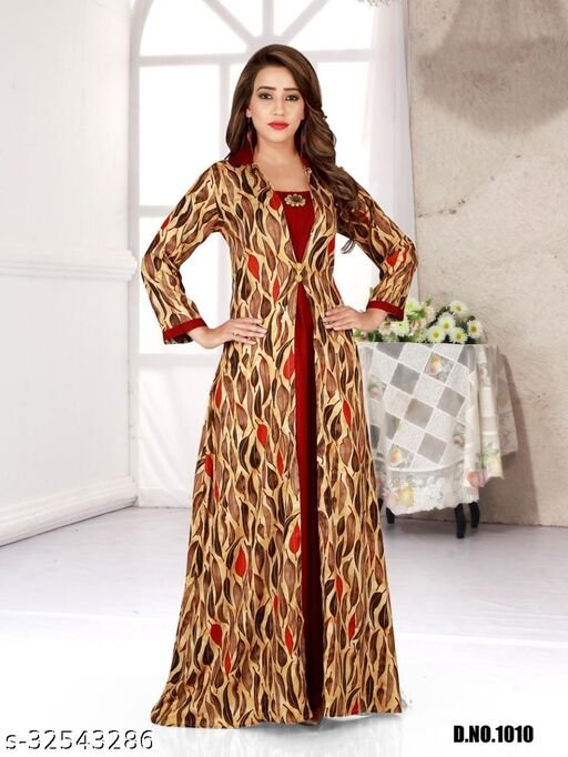 New 2021 Bown Color Reyon Fabric Full Stitched Gown For Women