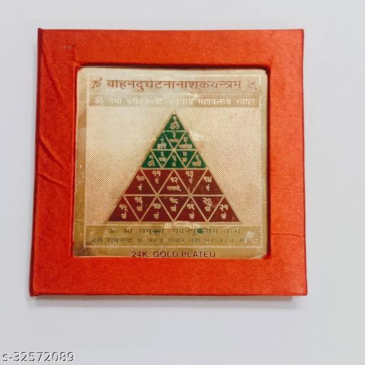 KESAR ZEMS Golden Plated Vahan Durghatana Nashak Yantra Type B (7.5 X 7.5 X 0.01 CM) Golden Frames