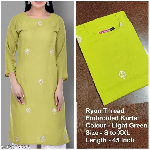 Ziva Fashion Women Embroidered Cotton Rayon Blend Straight Kurta