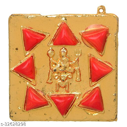 KESAR  ZEMS Golden Plated Shri Mangal Stone Yantra For Pooja and Wealth/Business Yantra ( 5 x 5 x 1.5 Cm) Red + Golden