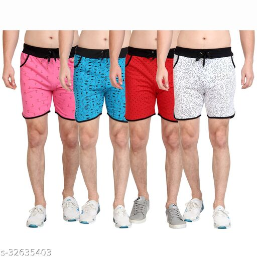 Diaz Cotton Printed shorts for boys mens pack of 4