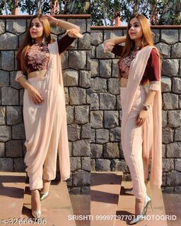 Classy Designer Fancy Palazzo Saree With Embroidered Blouse Piece