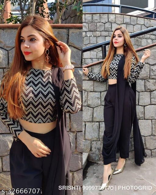 Bollywood Designer Fancy Black Palazzo Saree With Blouse Piece