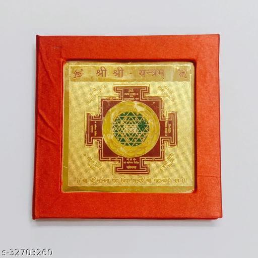 KESAR ZEMS Golden Plated Shree Yantra (7.5 X 7.5 X 0.01 CM) Golden