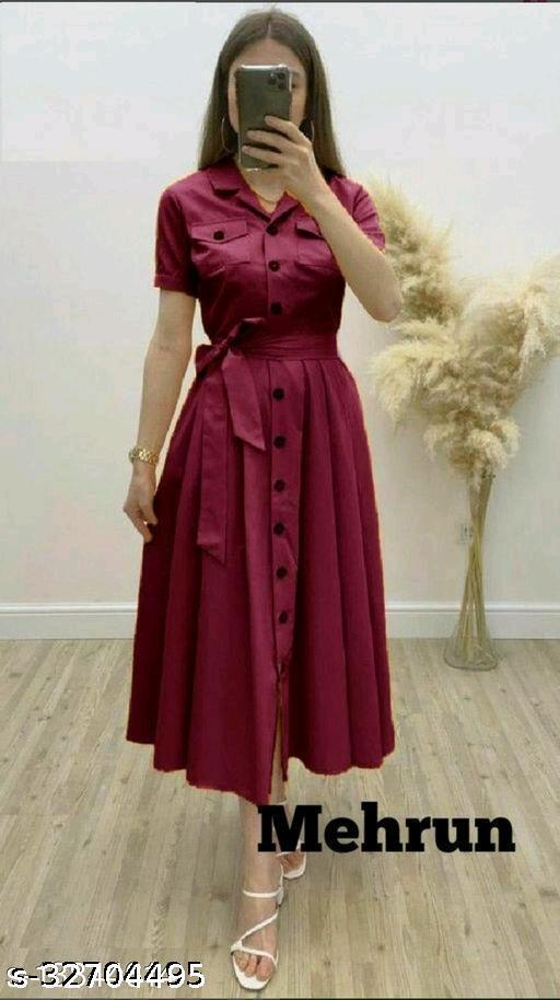 Fancify Demanding Shirt style Rayon buttoned Dress for Women