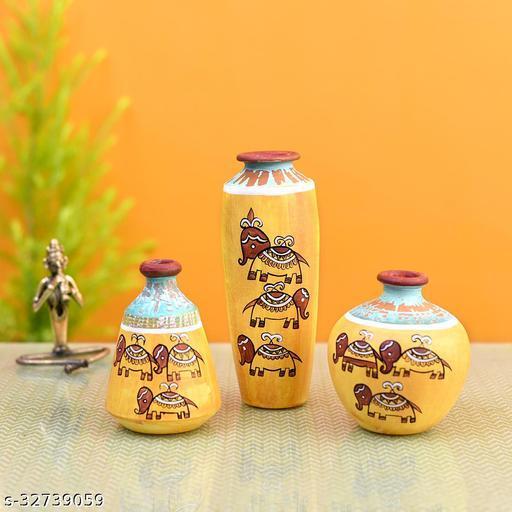 Happy Elephant Scratched Yellow Vase So3 (6x3/4.5x3.5/4x4  HxDia)