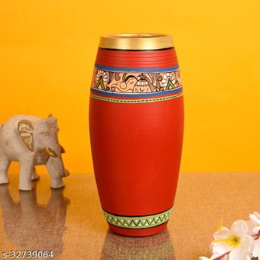 Vase Earthen Handcrafted Red Madhubani 9x4(HxD)