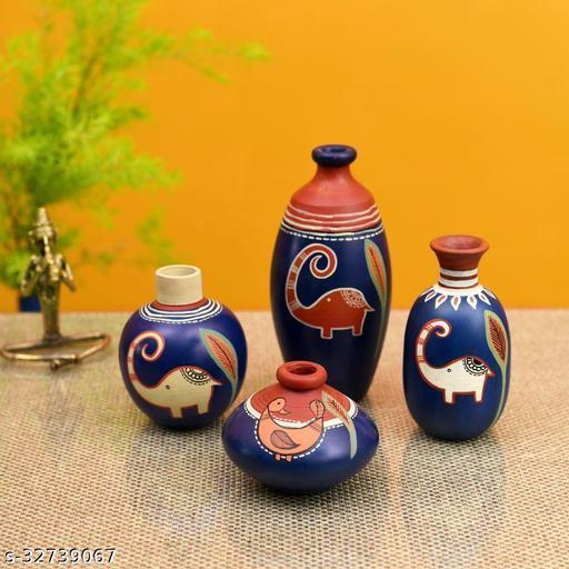 Happy Elephant Vases (So4) in Blue (5x2.5/4x3/2.5x2.5/6x3 HxDia)
