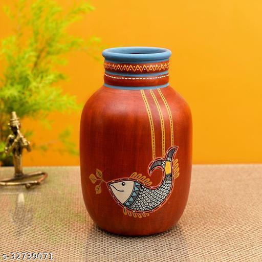 Happy Fish Rustic Red Vase (5x5x8)