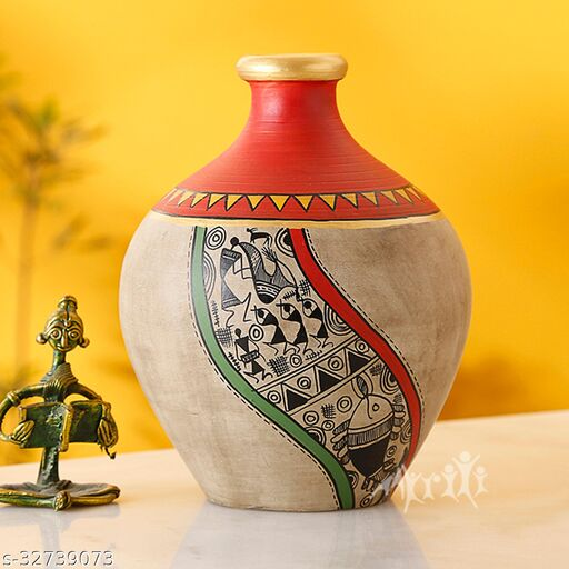 Vase Earthen Handcrafted Red & Gold Warli 5x4(HxD)