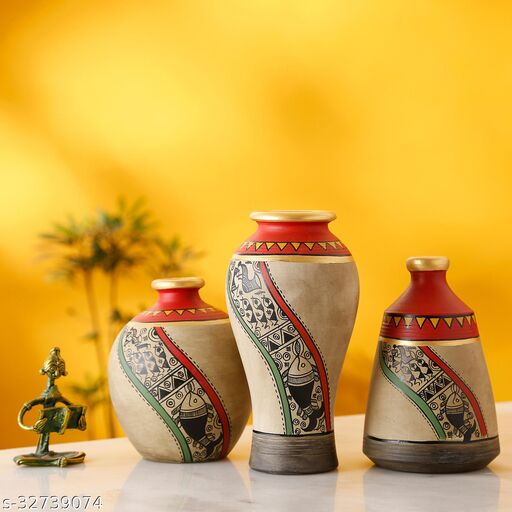 Mud Red Earthen Miniature Vases with Warli Art