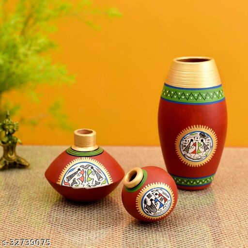Rustic Warli Vases (So3) in Red color (5x2.5/3x2/6x3 - HxDIA)