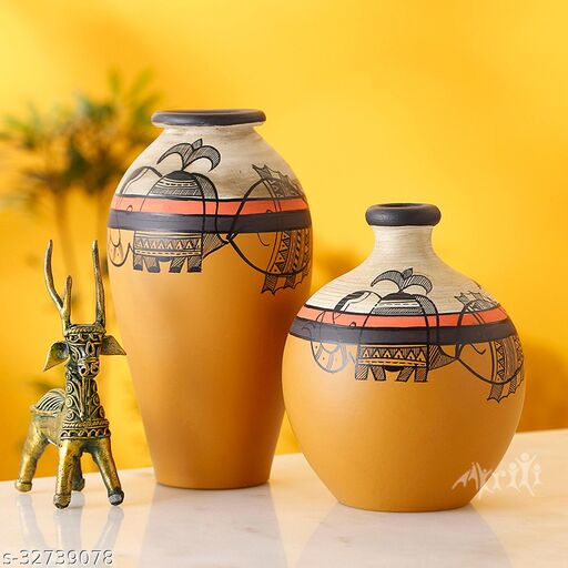 Vase Earthen Yellow Madhubani (Set of 2) (6.2x3/5x4)