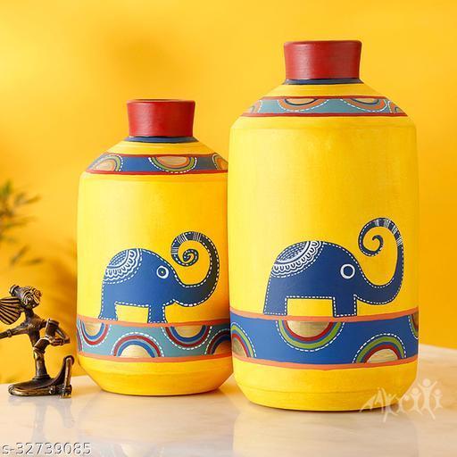 Happy Elephants Madhubani Yellow Vases(Set of 2) (8x4.6/10x5.4)