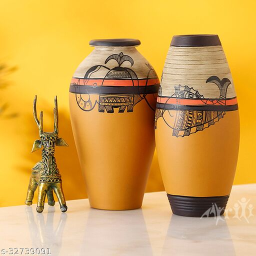 Vase Earthen Yellow Madhubani with Fish Motifs (Set of 2) (6.2x3/6.2x3)