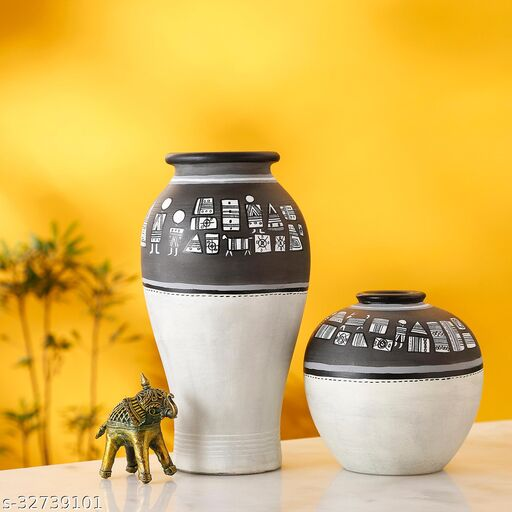Vase Earthen Handcrafted Black & White Warli (Set of 2) (5x5/6x3)