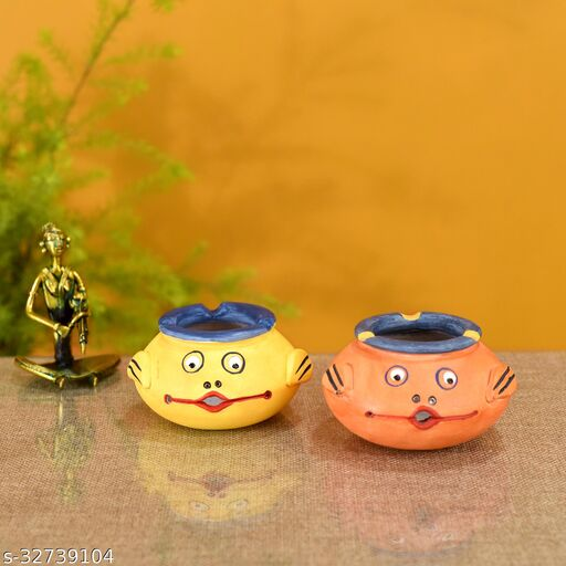 Smiling Face Multipurpose Pots in Pink & Yellow