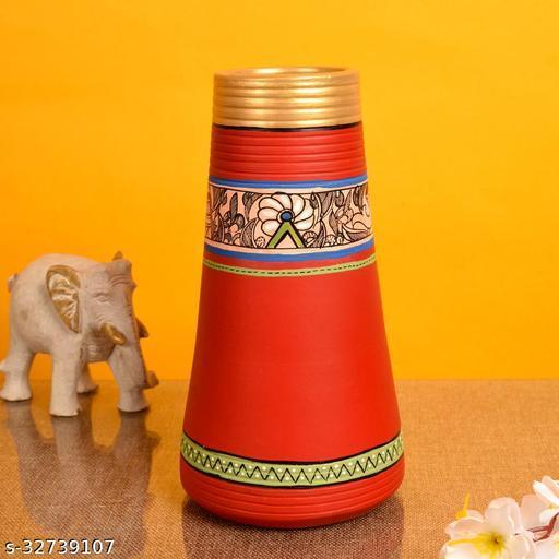 Vase Earthen Handcrafted Red Madhubani 9x4.5(HxD)