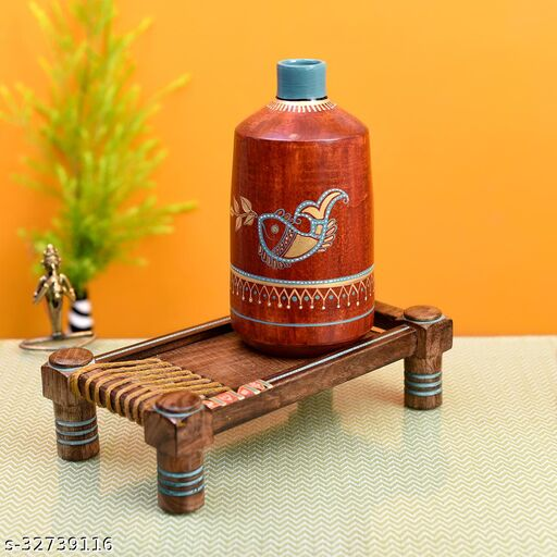 Rustic Red Madhubani Vase placed on Ethnic Charpai Stand (12.5x7x12.5)