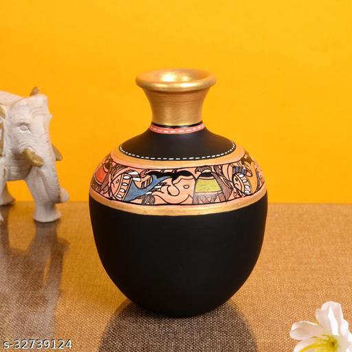 Vase Earthen Handcrafted Black Madhubani 6x4(HxD)